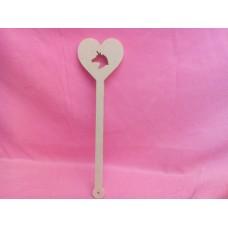 6mm MDF Unicorn heart wand